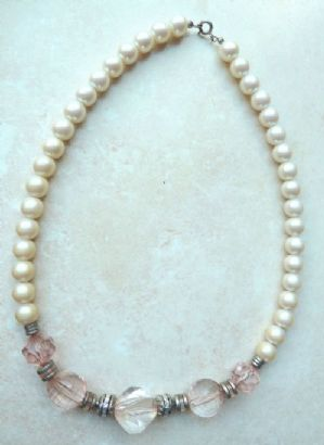 Vintage Pearl And Large Pink Faceted Bead Necklace